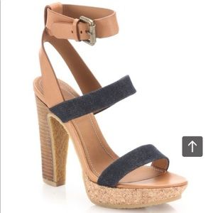 See by Chloe leather and denim sandal